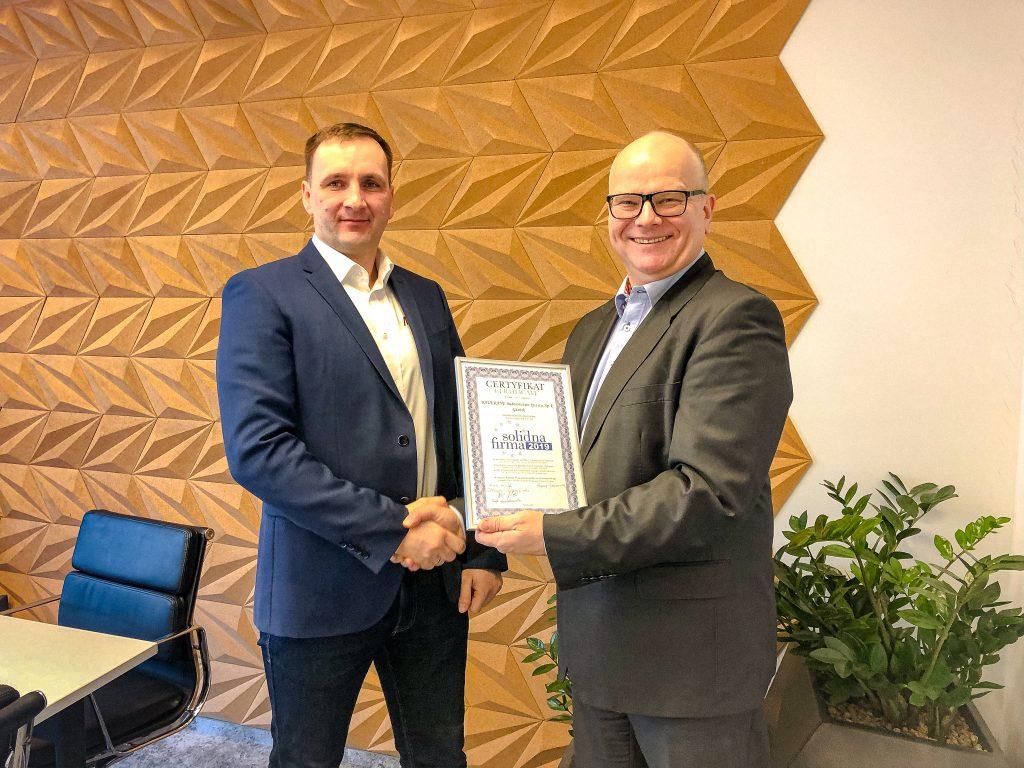 Certyfikat SOLIDNA FIRMA 2019 dla BAUKRANE